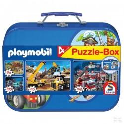 Coffret métallique de 4 puzzles PLAYMOBIL