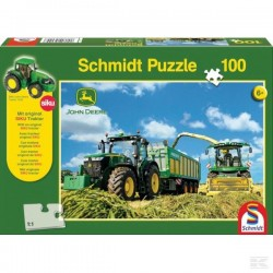 Puzzle Tracteur John Deere 7310R avec Remorque + Ensileuse 8600i
