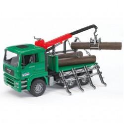 Camion forestier MAN avec grue et grumes