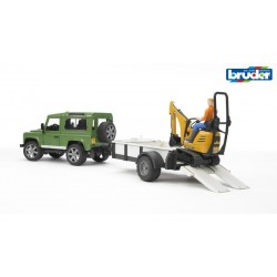 Mini pelleteuse JCB + Land Rover + remorque + figurine