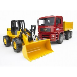 Chargeur FIAT FR130 + camion benne MAN